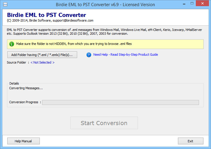 With attachment files Convert from EML to PST